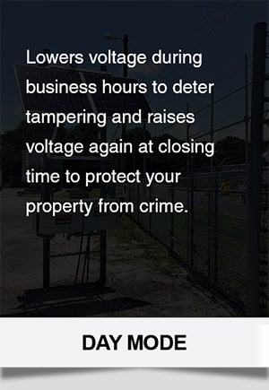 Raises fence voltage at closing time